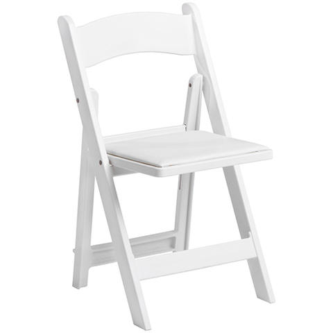 White Folding Padded Garden Chair | Sharper Events & Party Renta