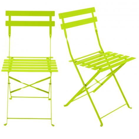 Confetti - 2 metal folding garden chairs in lime green | Folding .
