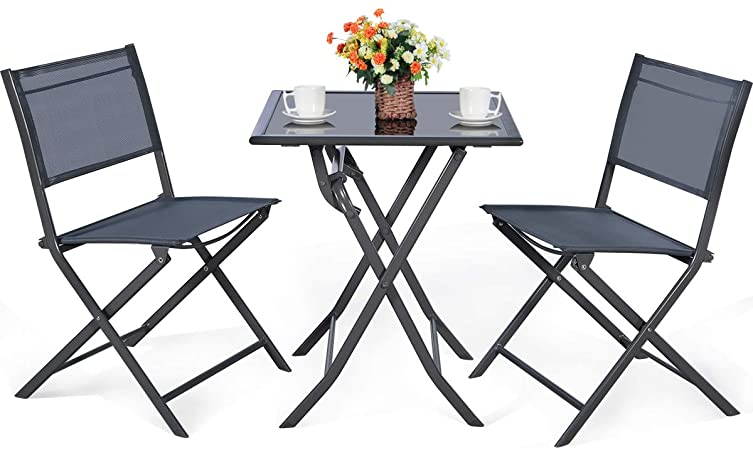 Amazon.com: Giantex 3 Pcs Bistro Set Garden Backyard Table Chairs .
