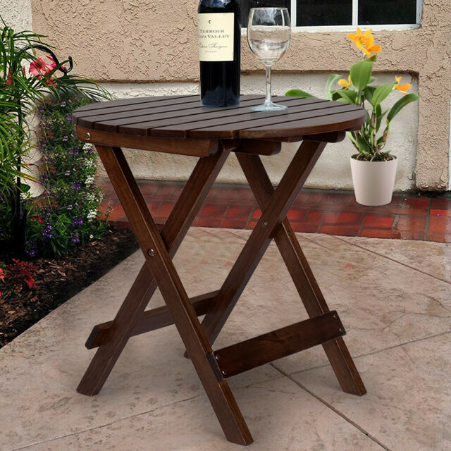Glitzhome Rustic Farmhouse Wood Round Coffee/Side Table Patio .