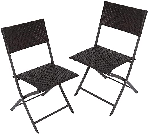 Amazon.com: 2PCS Folding Patio Chair Set Rattan Back Chair .