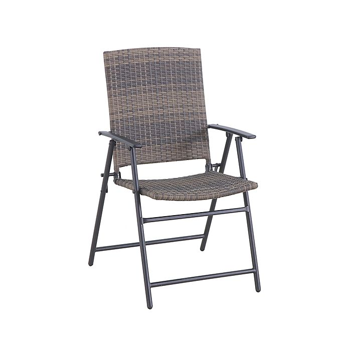 Barrington Wicker Folding Patio Chair in Natural Brown | Bed Bath .