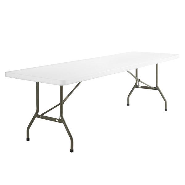 "8 Foot Folding Table (30"" x 96"") Heavy Duty Plastic, White ."