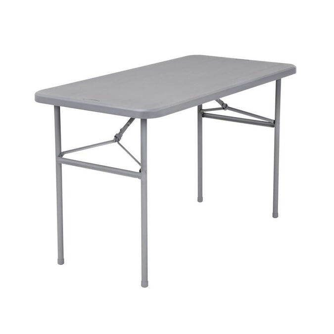Cosco 24-in x 48-in Indoor Rectangle Resin Gray Folding Table in .