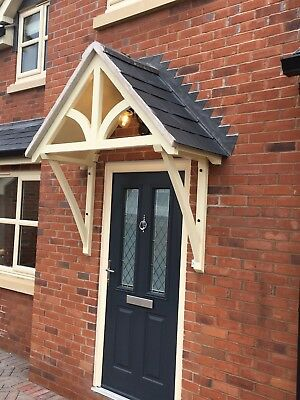 "Timber Front Door Canopy Porch, ""BLAKEMERE Curved GALLOWS""awning ."