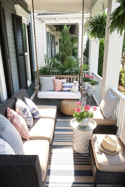 Small Front Porch Decorating: 6 Unique Ideas for Summer | Gray .