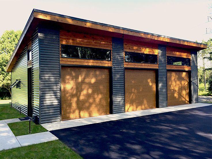 3-Car Garage Plans | Modern Three-Car Garage Plan Design # 050G .