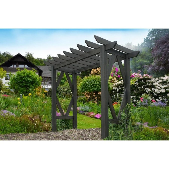 New England Arbors 7.5-ft W x 7-ft H Charcoal Garden Arbor in the .