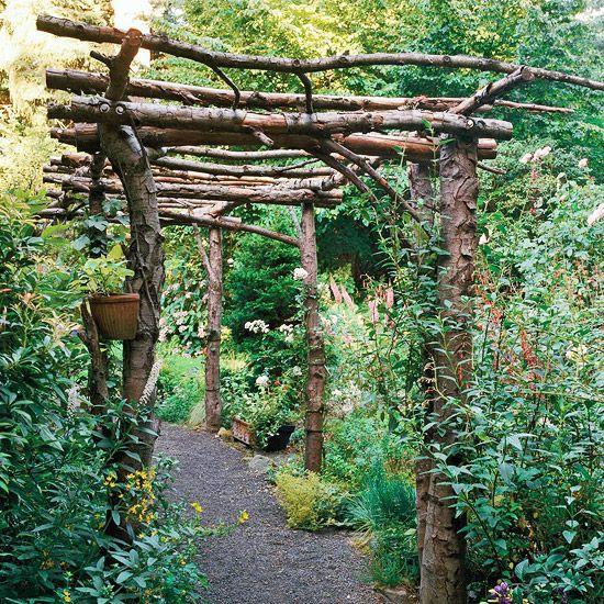 Rustic and Simple Arbor Ideas | Charming garden, Rustic gardens .