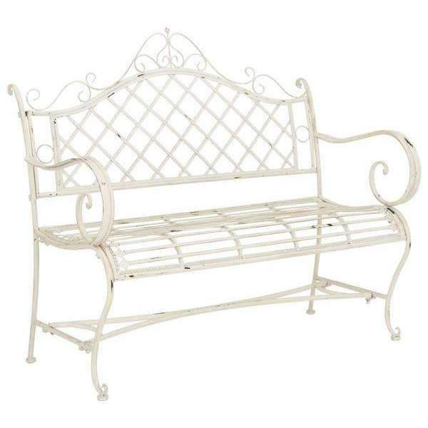 "Abner Garden Bench 45.75"" Outdoor Antique White Metal Iron ."
