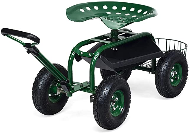 Amazon.com: Goplus Garden Cart Gardening Workseat w/Wheels, Patio .