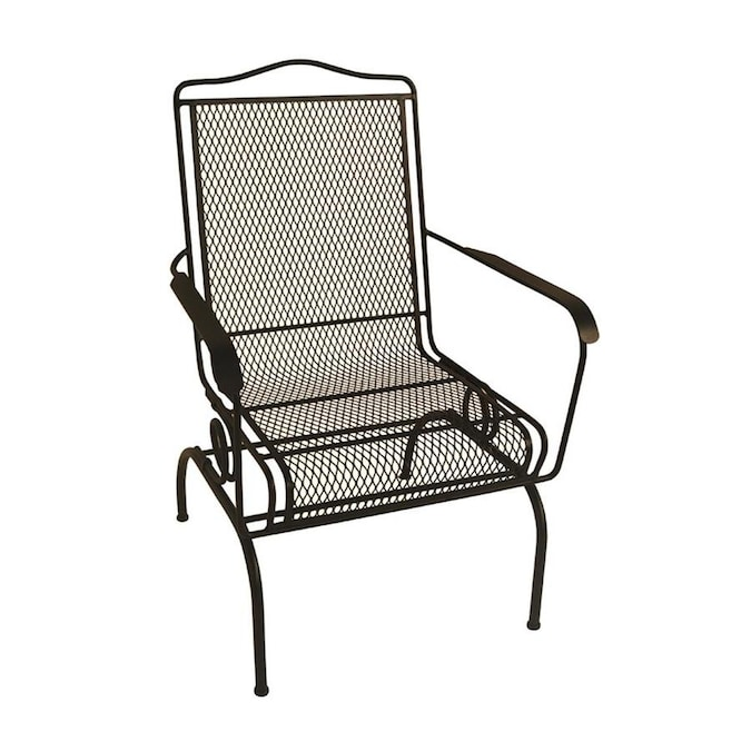 Garden Treasures Black Stackable Metal Spring Motion Dining Chair .