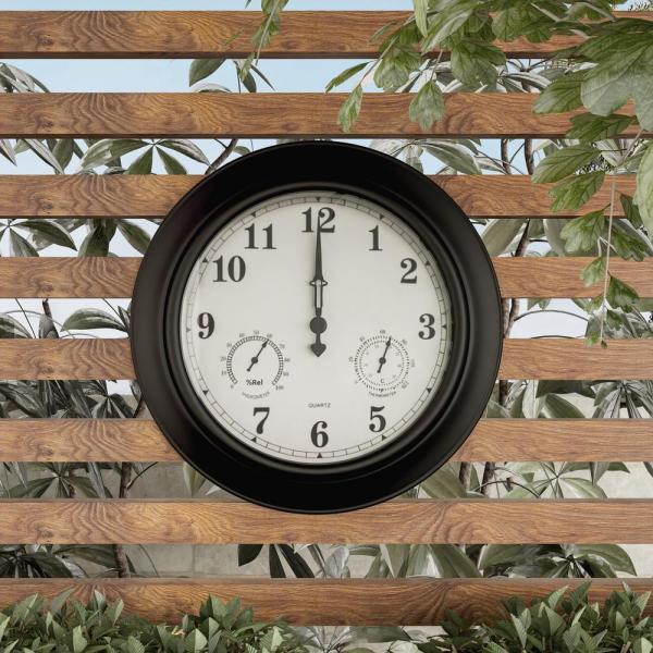 Pure Garden 18 in. Black Thermometer and Hygrometer Indoor/Outdoor .