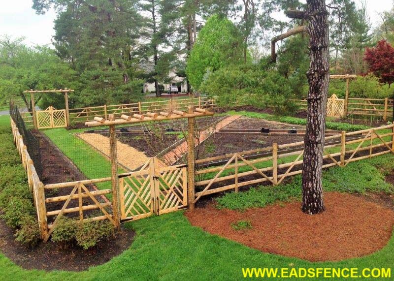 Custom Garden Fence with Round Rail Split Rail and Deer Fencing .