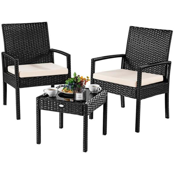 Costway 3-Pieces Outdoor Rattan Furniture Patio Conversation Set .