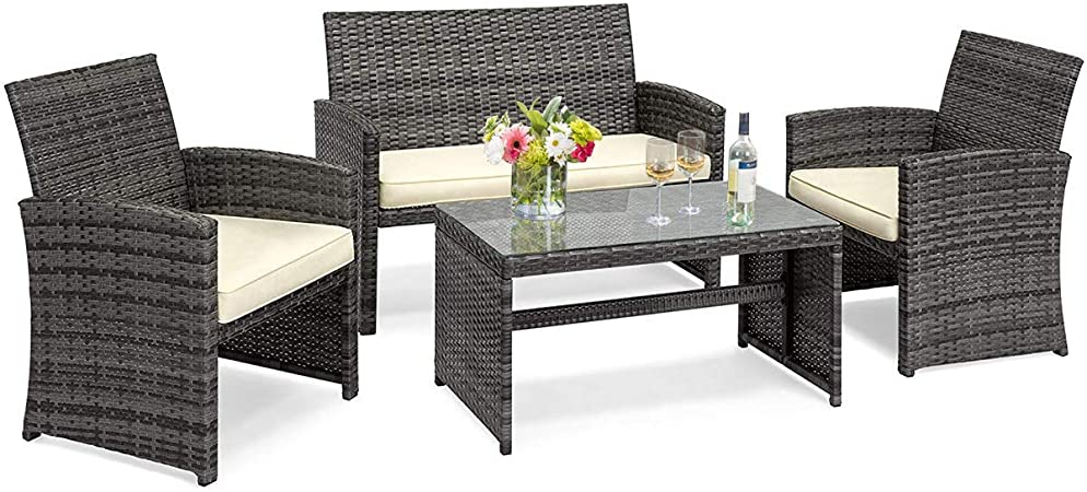 Amazon.com: Goplus 4-Piece Wicker Patio Furniture Set with Weather .