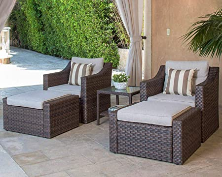 Amazon.com: SOLAURA 5-Piece Sofa Outdoor Furniture Set, Wicker .