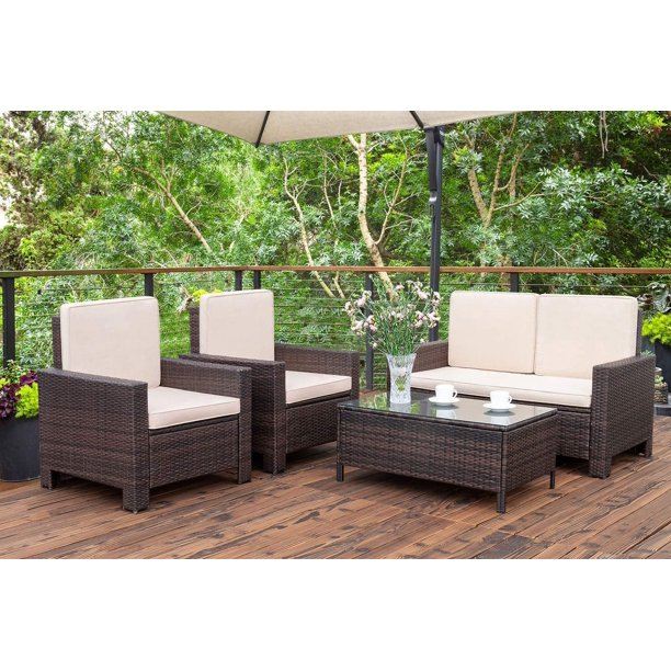 Walnew 4 Pieces Outdoor Patio Furniture Sets Rattan Chair Wicker .