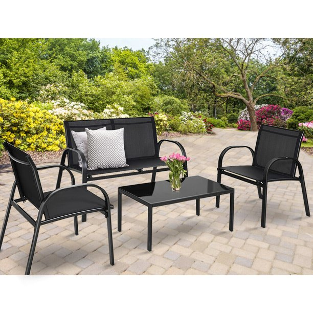 Costway 4 PCS Patio Furniture Set Sofa Coffee Table Steel Frame .