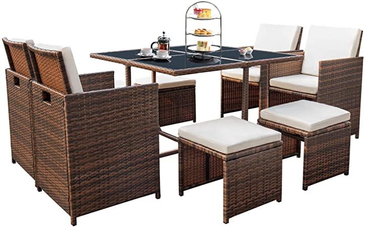 Amazon.com: Devoko 9 Pieces Patio Dining Sets Outdoor Space Saving .