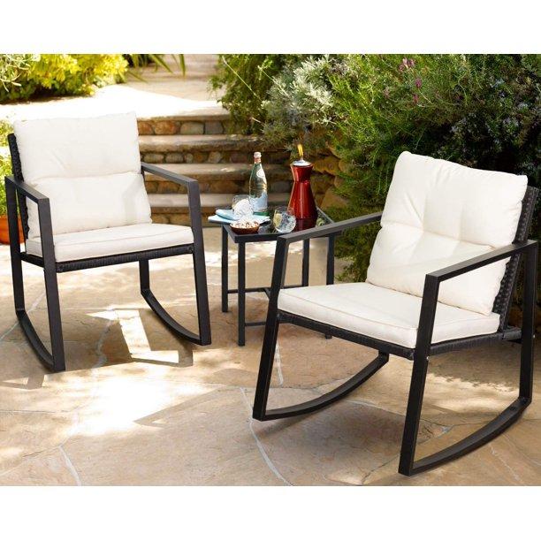 Walnew 3 Pieces Patio Furniture Set Rocking Wicker Bistro Sets .