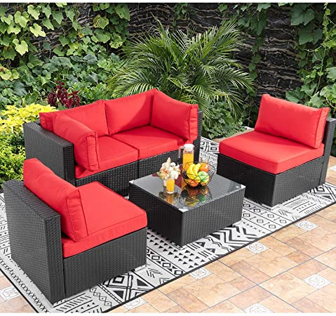Amazon.com : Walsunny 5pcs Patio Outdoor Furniture Sets, Low Back .