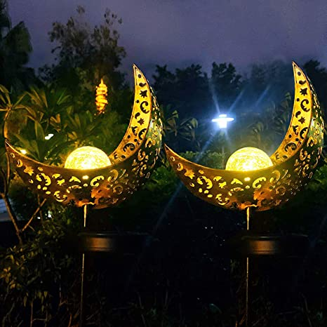 Solar Powered Garden Lights, 2 Pack Antique Brass Hollow-Carved .