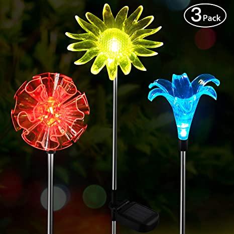 OxyLED Solar Garden Lights Outdoor, 3 Pack LED Solar Stake Light .