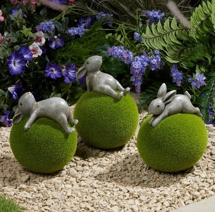 Set of 3 Flocked Rabbits Garden Ornaments – Mr Gooses Empori