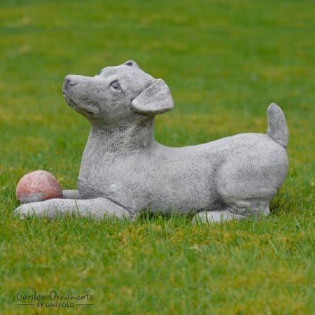 Hand Cast Stone JACK RUSSELL Garden Ornament Dog Statue Sculpture .