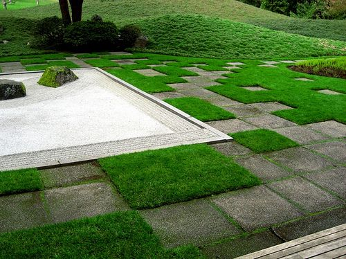 Bloedel Jpn Gdn - lawn & paving.jpg | Garden design, Garden paving .