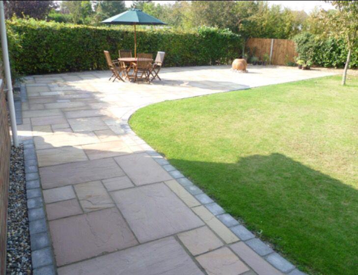 L shape garden paving | Garden tiles, Garden paving, Patio ston