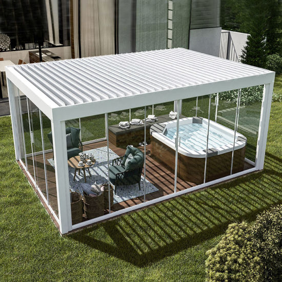 China Waterproof Aluminium Gazebo Motorized Garden Outdoor .