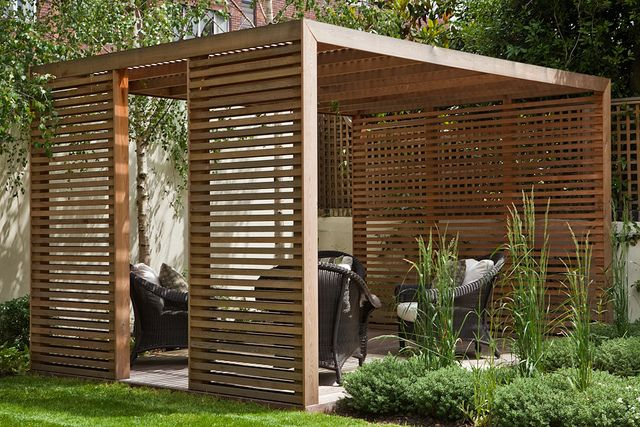 Cedar Pavillion, modern & clean softened by planting and trees .