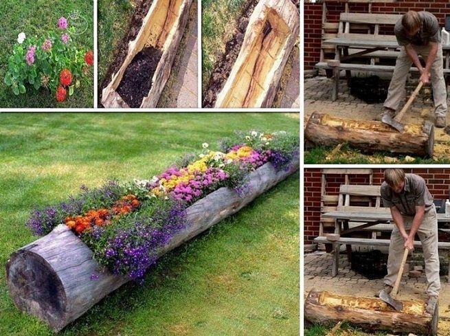 How To Make A Hollow Log Planter | DIY Cozy Home | Log planter .