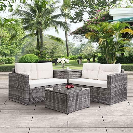 Amazon.com: 4pcs Patio Conversation Set Rattan Garden Outdoor .