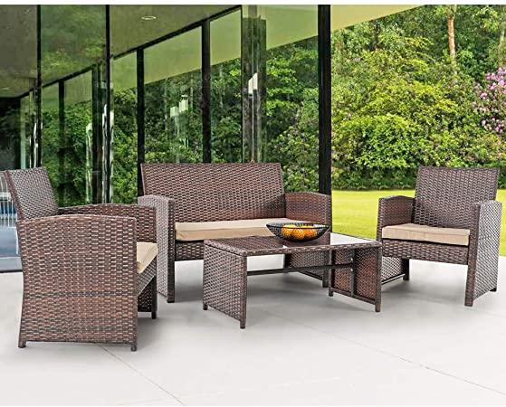 Amazon.com: Patiorama 4 Pieces Outdoor Patio Furniture Sets Garden .
