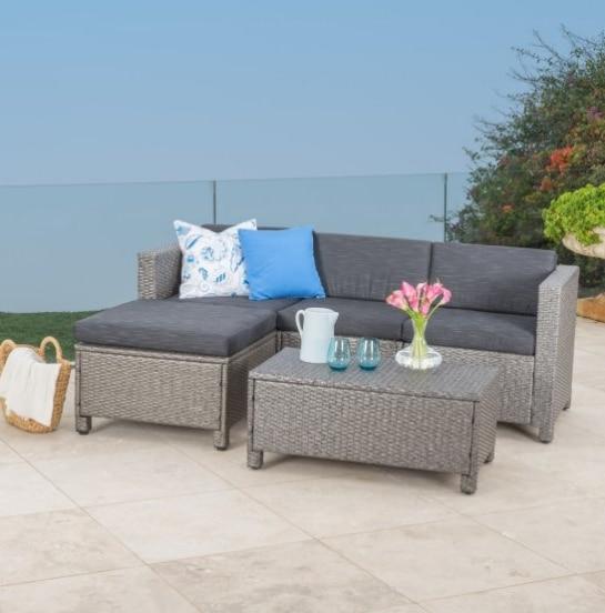Hot sale garden furniture bistro rattan sofa set small outdoor .