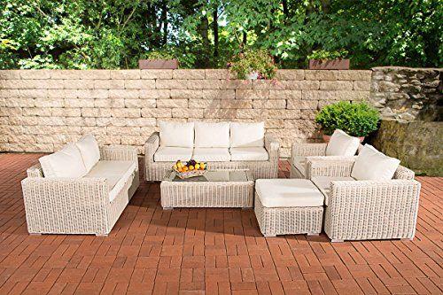 CLP Luxury Poly-Rattan Garden Sofa Set MADEIRA XL, 5 mm Rattan .
