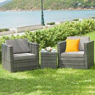 Costway HW62883 3PCS Patio Garden Rattan Furniture Sofa .