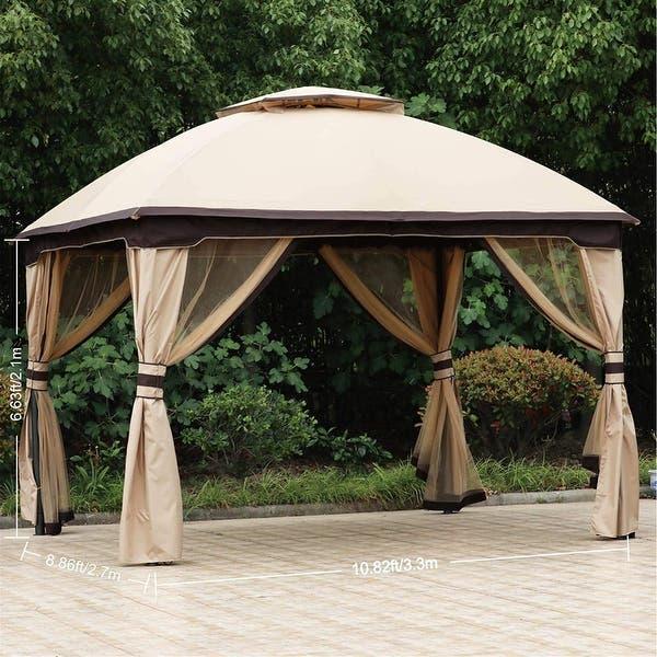 Shop 10' X12' Patio Gazebo Canopy, Double Soft-top Garden Shelter .