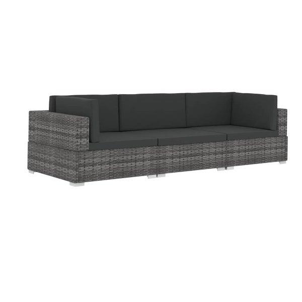 Shop vidaXL 3 Piece Garden Sofa Set with Cushions Poly Rattan Gray .