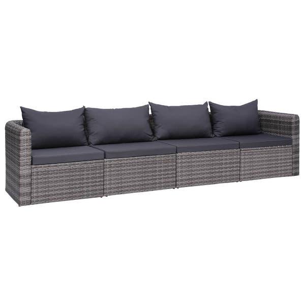 Shop vidaXL 4 Piece Garden Sofa Set with Cushions Gray Poly Rattan .