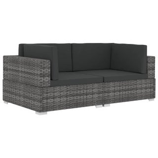 Shop vidaXL 2 Piece Garden Sofa Set with Cushions Poly Rattan Gray .