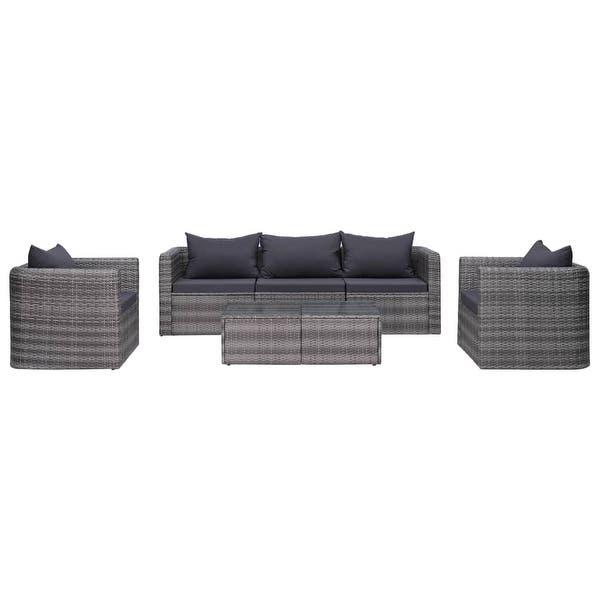 Shop vidaXL 7 Piece Garden Sofa Set with Cushions & Pillows Gray .