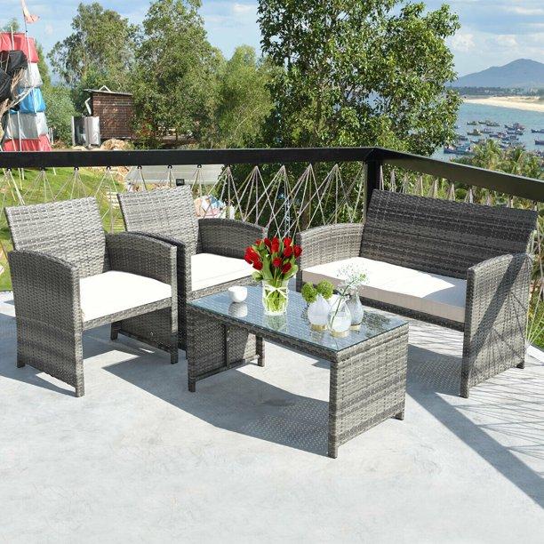 Costway 4 Pc Rattan Patio Furniture Set Garden Sofa with White .