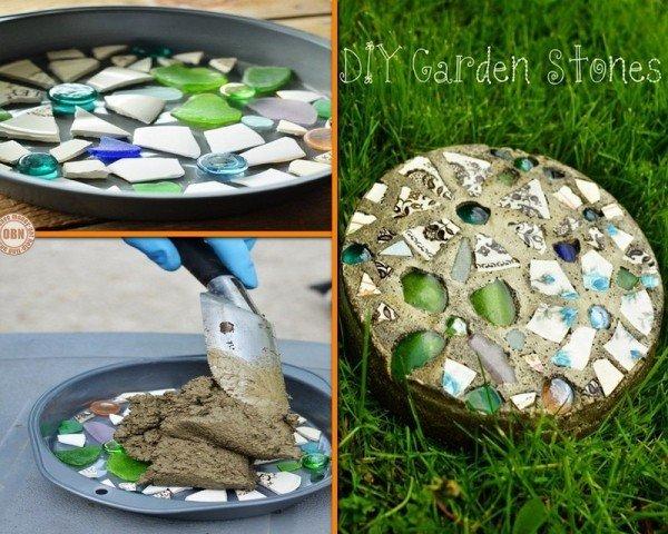 DIY Cake Pan Mosaic Garden Stepping Sto