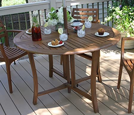 Amazon.com : Outdoor Interiors Round Folding Table, 48-Inch, Brown .
