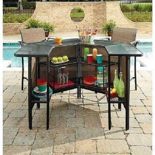 5 Piece Patio Bar Set Table Chairs Outdoor Bartender Deck .