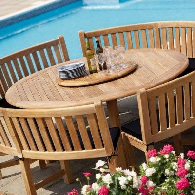 circular garden table and chairs/benches | Garden table and chairs .